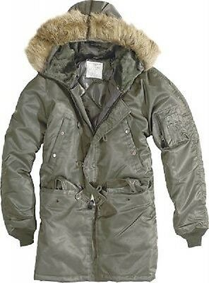 Army N3B US Military Vintage Polar Jacke Parka Winterjacke Jacket oliv XL