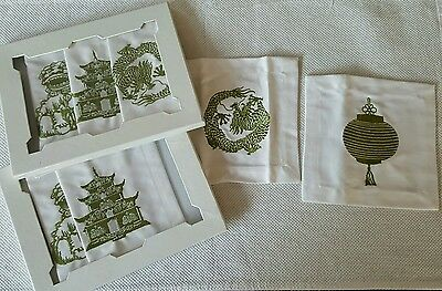 2 Boxes Z GALLERIE Chinoiserie Coasters S/4 GR $19.95 Each NIB w/ Tags