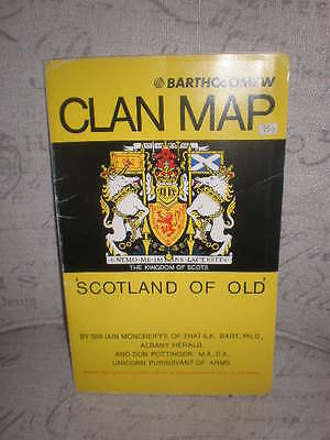 "Bartholomew's Clan Map Scotland Of Old, Vintage, 30X40"" Excellent Condition!"