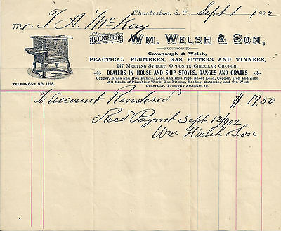1902 Welsh & Son Plumbers, Gas Fitters & Tinners, Charleston SC Illustrated Bill