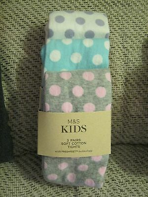 Girls 3 Pack Soft Cotton Tights Age 2-3 Yrs Marks & Spencer