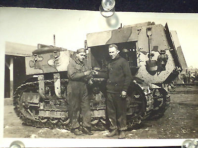 WWI Real Photo Tank Armored Vehicle with Operator and Mechanic