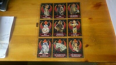 Star Wars Chase set Of Heroes of the Resistance 9 CardsR1 to R9 Complete