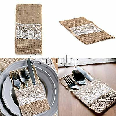 10pcs Hessian Burlap Lace Cutlery Pouch Rustic Wedding Tableware Bags Favor