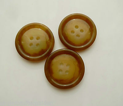 3 Large Brown Marbled Vintage Coat Buttons 1 inch wide