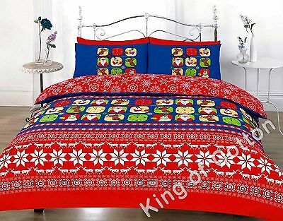Christmas Duvet Quilt Cover Bed Set Snowflake Yule Stag Marry Christmas Double