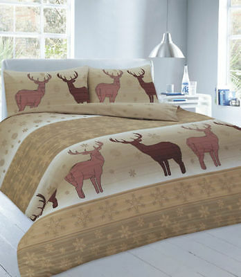 Christmas Duvet Quilt Cover Bed Set Snowflake Yule Stag XMAS Fawn Natural Double