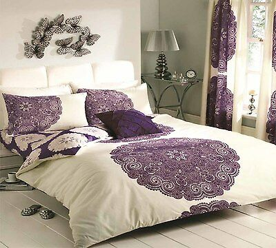 Christmas Sale Duvet Cover with Pillowcase Bed Set Manhattan Cream Purple King