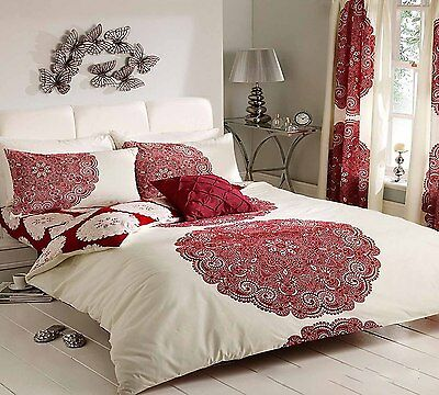 Christmas Sale Duvet Cover with Pillowcase Bed Set Manhattan Cream Red King