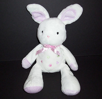 Carters Just One Year White Bunny Hearts Baby Plush Stuffed Animal Lovey Toy
