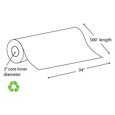 """34"""" x 500' 20# Recycled Paper Wide Format Roll, Taped (Carton of 2 Rolls)"""