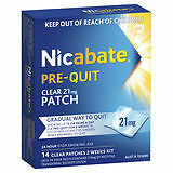 Nicabate Pre-Quit 21 mg- 14 Clear Patches