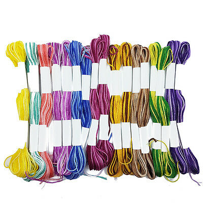 Ombre Colour Cross Stitch Cotton Embroidery Thread Sewing Skeins Floss 99p UK