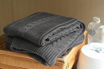 Charcoal Cable Knit Throw Bed Sofa Couch Rug Blanket 127 x 152CM