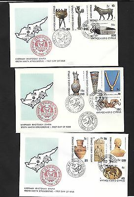 Cyprus 1983 New Currency 3 FDC ( #2 )