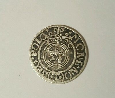 RARE MEDIEVAL SILVER HAMMERED COIN- GREAT DETAILS - Date 1620 Patina