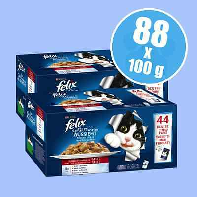 Felix As Good As It Looks Pouches Meat Fish & Jelly Cat Food Mega Pack 88 x 100g