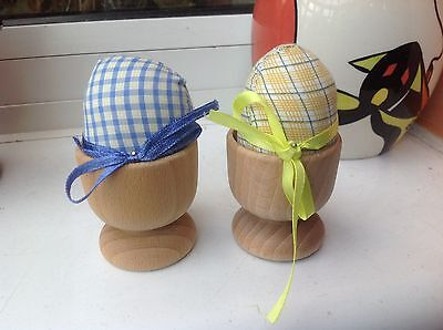 WOODEN EGG CUPS PIN CUSHIONS - 2pcs (NEW)