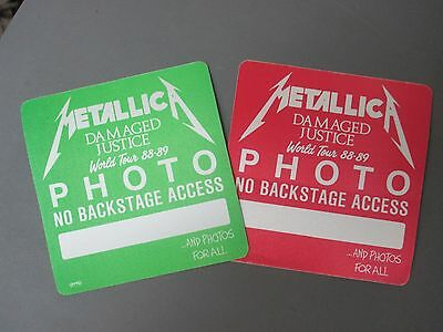 Metallica satin PHOTO passes AUTHENTIC OVERSIZED 2 squares '88-'89 !