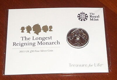 UK Silver £20 2015 THE LONGEST REIGNING MONARCH COIN