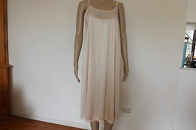 Women's Vintage Light Beige Nylon Full Slip