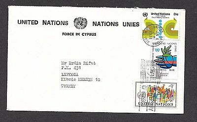 Cyprus Cover ,1981 United Nations Force in Cyprus  U.N. N.Y Post to LEFKOSA