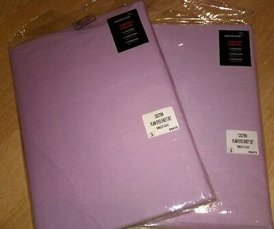 2 x lilac, single flat bed sheets, brand new, in packaging.