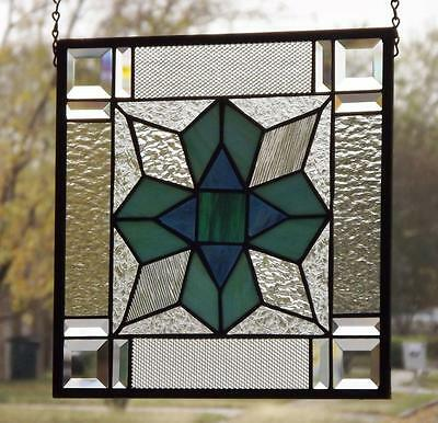 """*PATCHWORK* Beveled Stained Glass Window Panel • 13 1/4""""-13 1/4"""""""