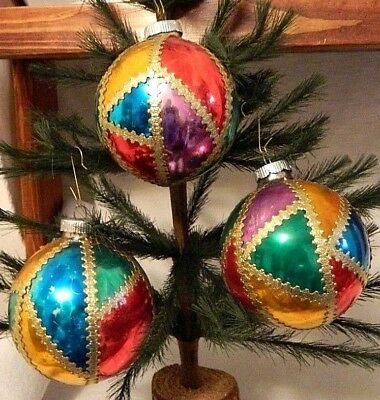 Set of 3  Vintage Stained Glass Style Ball  Blown Glass Ornaments  West Germany