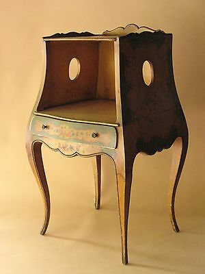 Old Italian hand painted wood Bed Side TABLE floral 1920s furniture Italy Europe
