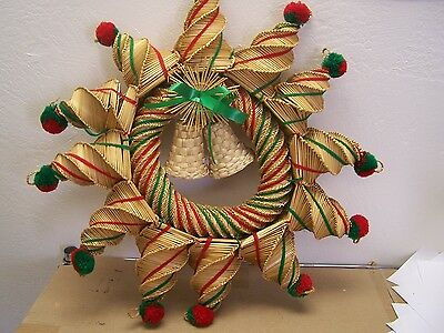 Large Handwoven Straw and Reed Christmas Wreath - Mexico