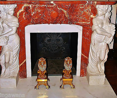 Antique 19 C Red Marble*the Rarest Of All* Mantel White Carrara Marble Figures