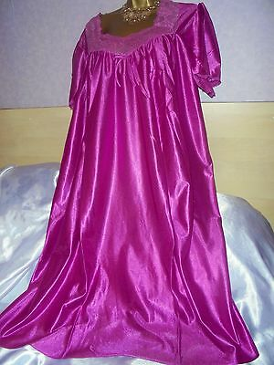 Stunning   vtg Glossy silky nightie dress slip  gown negligee nightdress 22/24