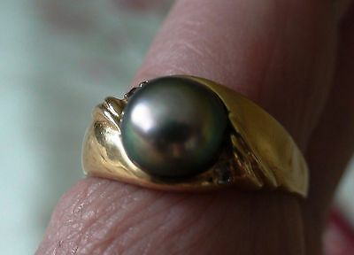 14K Ring Set with 10mm Silver Green Tahitian Pearl + 2 Diamonds, US Size 13