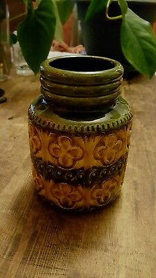 Vintage Scheurich East West German Vase Carved Floral Design