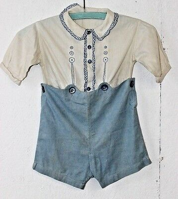 Antique Vintage Boys Blouse and Knickers Romper Embroidered Cotton Size 2