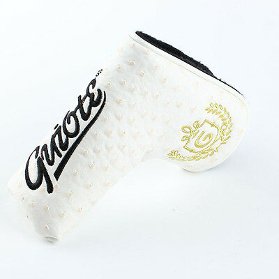 Guiote - WHITE PU Leather Putter Cover Magnetic Closure - Free Delivery Included