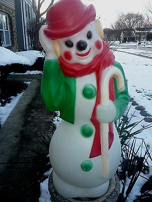 "Vtg Green Empire Plastic Blowmold Lighted 33"" Tall Snowman Red Derby Hat #2"
