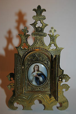 Antique Religious Porcelain Plaque Ornate Frame