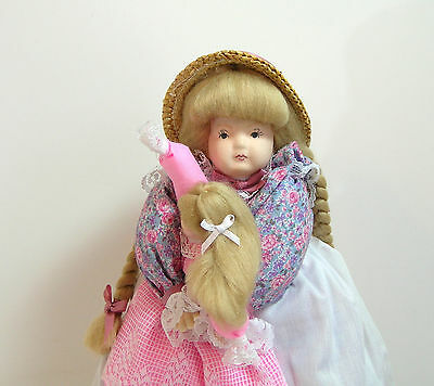 "Handmade Collectible Doll, 14"", Just Ducky Country Girl With Baby Doll"