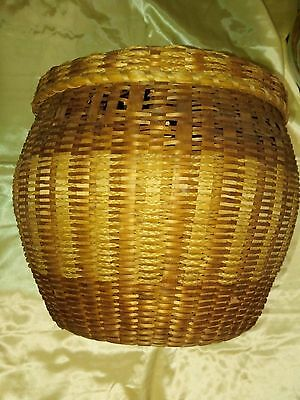 """1800s WICKER BASKET WITH LID. 10"""" BY 12""""."""