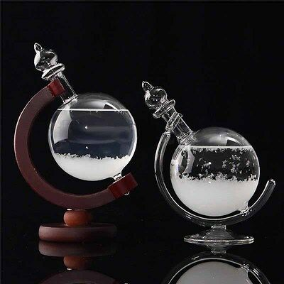 Globe Shaped Weather Forecast Crystal Storm Glass Bottle +Stand Home Decor Xmas