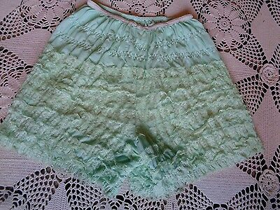 vintage victorian burlesque pin up retro lace ruffle bloomer shorts mint green