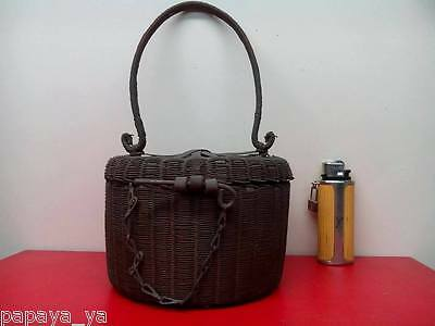 Rare Antique Woven Basket W/Lid Sewing Notions Thread Scissors Button Tools