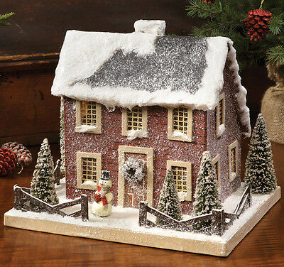Colonial Saltbox Red Putz Christmas Lighted House Primitive Tablepiece