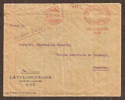 Latvia 1932 cover to Romania, METERED Riga postage, with Bucharest backstamp