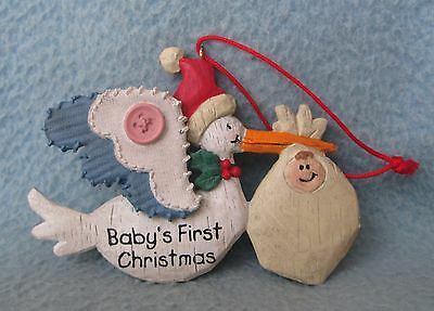 Stork W/ Baby Baby's First Christmas Ornament