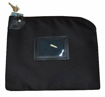 Small Security Locking Safety Bag Key Cash Bank Document Waterproof Black