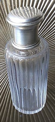 Antique 1900 Gustave Keller Sterling Silver Cut Glass French Perfume Bottle Gold