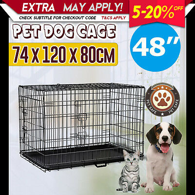 "NEW Pet Dog Puppy Cat Rabbit Folding Kennel Cage Carrier Crate 48"" XX Large"